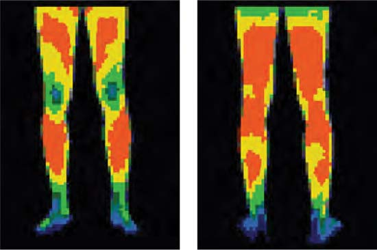 Heat map of conventional work pants - Front and rear view