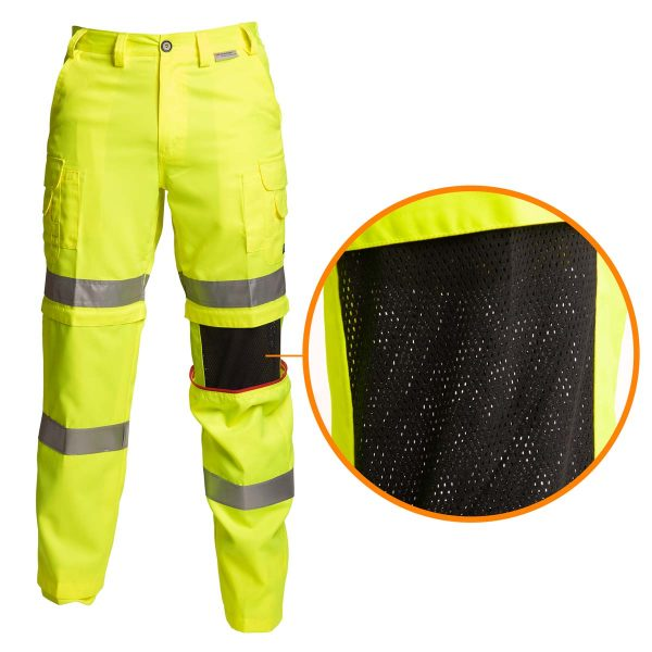 Coolworks Pants - Hi-Vis Lime-Yellow with Closeup of Mesh