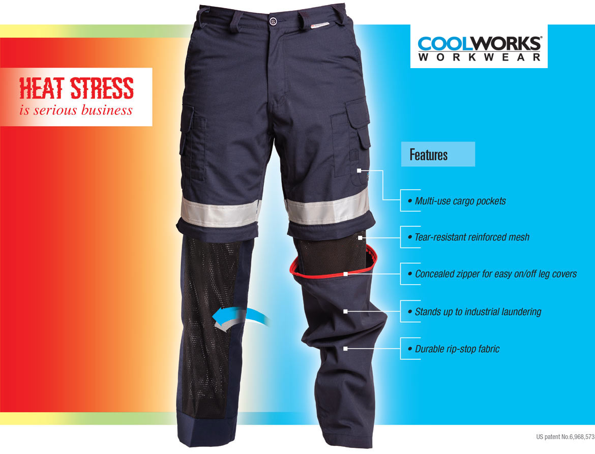 Heat Stress is serious business. Features of Coolworks Workwear.